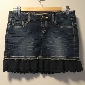 Twik denim miniskirt with navy lace ruffles